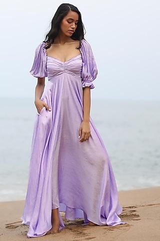 Lilac Off Shoulder Dress by Zwaan