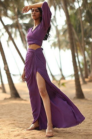 Purple Cotton Co-ord Set by Zwaan