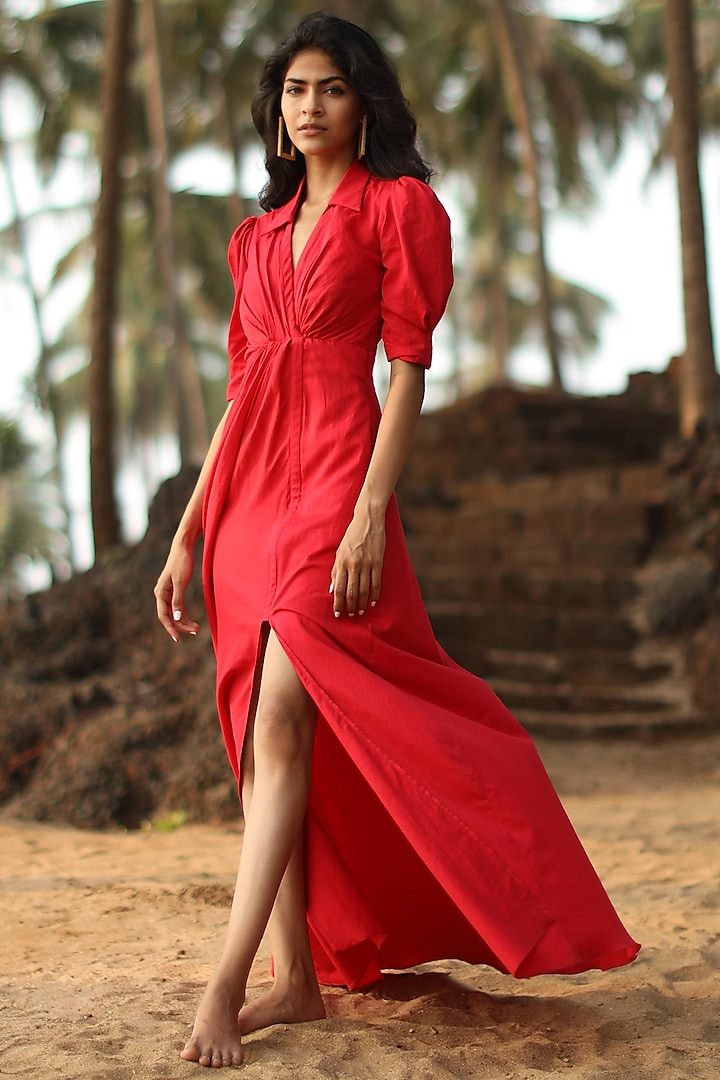 Red A-Line Shirt Dress With Elbow Sleeves by Zwaan