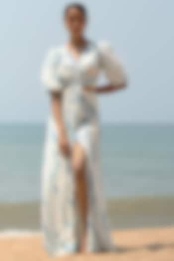 White Printed Dress by Zwaan