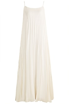 White Pleated Spaghetti Gown by Zwaan