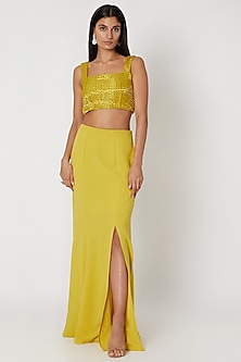 Yellow Embroidered Crop Top With Skirt by Zwaan