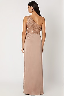 Nude Embroidered Draped Gown by Zwaan