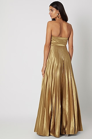 Gold Pleated Tube Gown With Bow by Zwaan