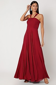 Red Flared Draped Gown by Zwaan