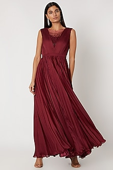 Maroon Embroidered Pleated Gown by Zwaan