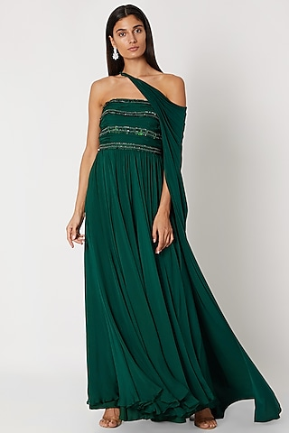 Emerald Green Embroidered Draped Tube Gown by Zwaan