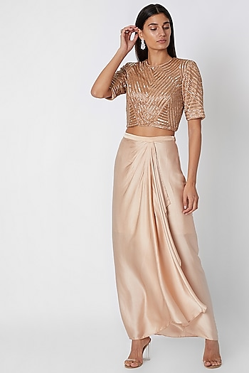 Nude Embroidered Crop Top With Draped Skirt by Zwaan