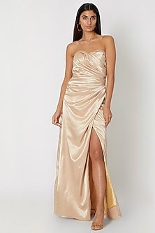 Gold Draped Tube Gown by Zwaan