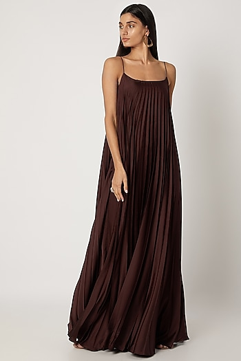 Brown Polyester Gown With Spaghetti Straps by Zwaan