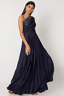 Cobalt Blue Embroidered Gown by Zwaan