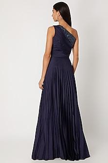 Cobalt Blue Embroidered Gown by Zwaan