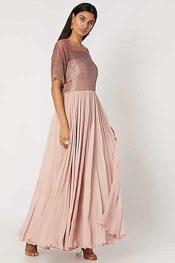 Blush Pink Pleated Embroidered Gown by Zwaan