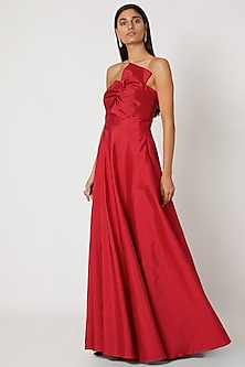 Red Polyester Tube Gown With Bow by Zwaan
