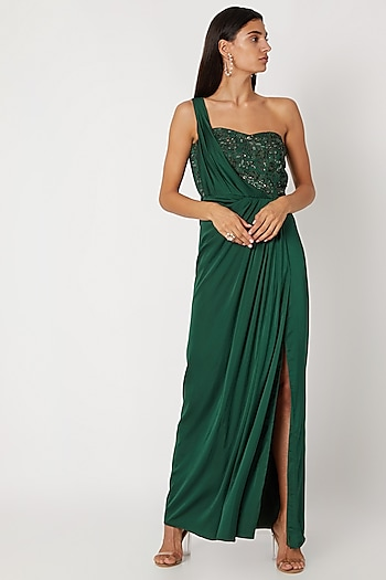 Bottle Green Embroidered Gown by Zwaan