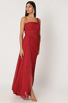 Red Georgette Draped Gown by Zwaan