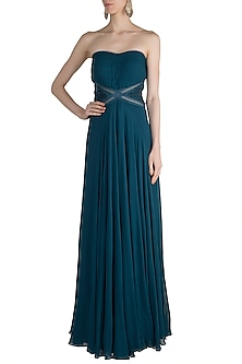 Teal Embellished Tube Gown by Zwaan