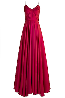 Fuchsia Spaghetti Drape Gown by Zwaan
