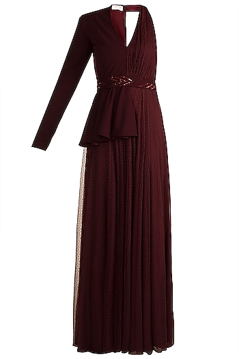 Maroon Polka Dot Blazer Gown With Embellished Belt by Zwaan