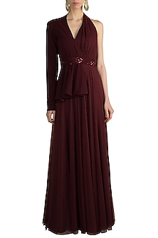 Maroon Polka Dot Blazer Gown With Embellished Belt by Zwaan